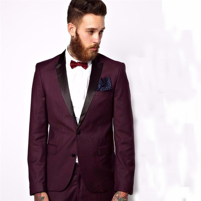 Groomsmen Peaked Black Lapel Groom Tuxedos Burgundy Mens Suit Wedding Best Man (Jacket+Pants+Tie) High Quality Suits