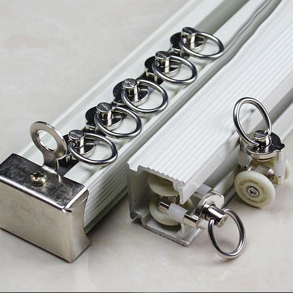 20pcs metal curtain track glider rail sliding roller wheels hook ceiling carrier for shower curtain drapes sheer valance 26mm