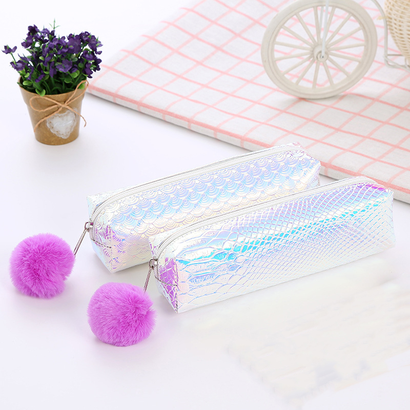 100PCS / LOT Women Cosmetic Bag Laser Mermaid Pattern Shell Pattern Travel Makeup Bag Wash Pouch Storage Pencil Bags