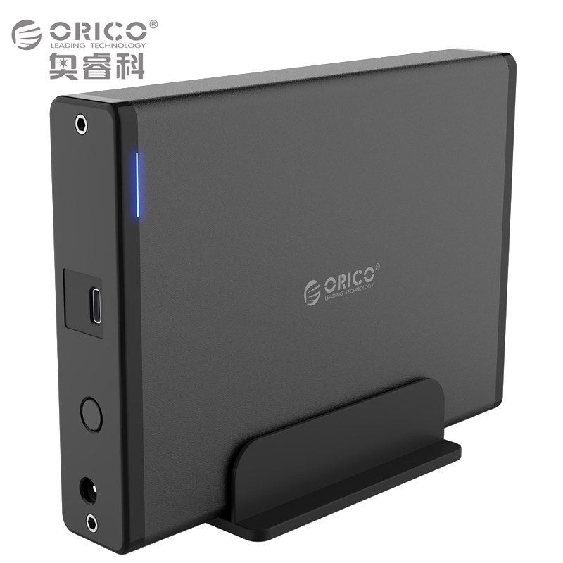 ORICO Type-C to SATA III 3.5 Vertical Aluminum External Hard Drive Enclosure for SATA HDD/SSD [Support 8TB & UASP ]- Black ugreen hdd enclosure sata to usb 3 0 hdd case tool free for 7 9 5mm 2 5 inch sata ssd up to 6tb hard disk box external hdd case