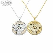 FYSARA Árabe Musulmán de La Joyería Geométrica Collar Redondo Israel AAA Cristal Lleno de Oro y de Color Mirco Pavimentada Collar de Los Colgantes Para Las Mujeres