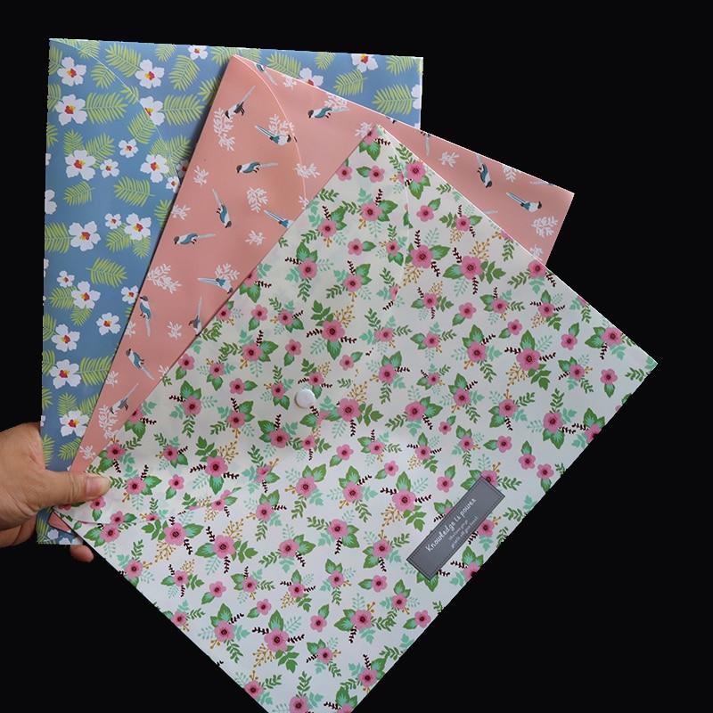 Durable Briefcase Folder Snap Flower File Bag Paper A4 School Stationery Shop Office Supplies 1 Piece