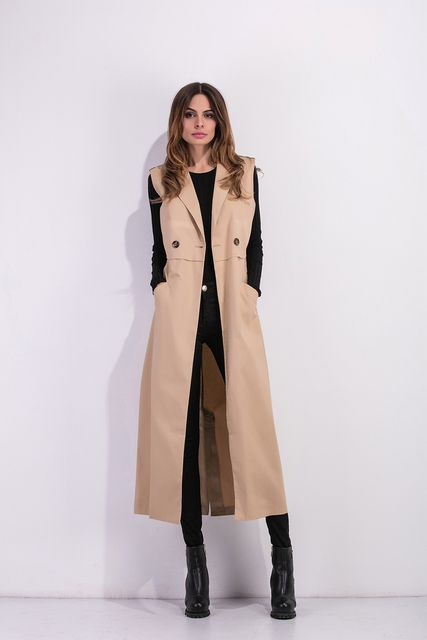 Zioksy 2017 Women X-Long Coat Double Breasted Slim Suit Collar  Soild vest sleeveless Trench Coat Outwears 6
