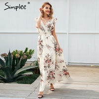 Simplee Ruffle Backless Bow Print Long Dress Women V Neck Tie Up Summer Dress Female Casual