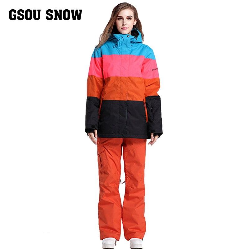 Nouveau Gsou combinaison de ski de neige combinaison femme épaisse et chaude lumière extérieure combinaison de ski d'hiver.