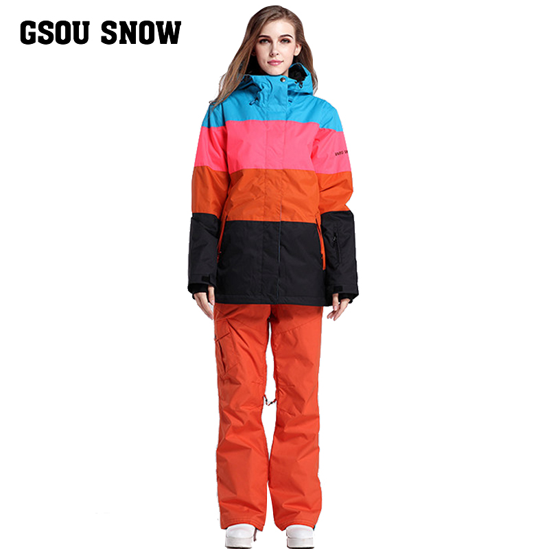 Nouveau Gsou neige costume de ski femmes de costume épais et lumière chaude en plein air combinaison de ski d'hiver.