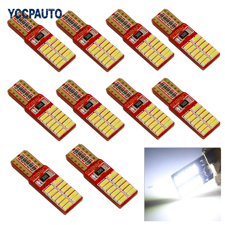 T10 LED Lights w5w Car Clearance Bulb Door Reading Lamp Super bright 24 SMD 4014 12V Auto Canbus Exteral Turn Signal Light 10pcs cn360 10pcs super bright smd 12v t10 w5w 168 194 car led auto clearance door reading license plate lamp bulb 2 years warranty