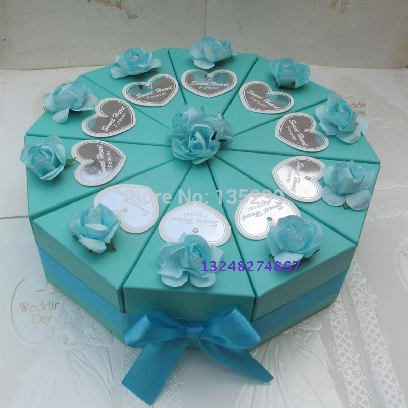 100pcs blue with rose wedding cake slice centerpiece candy box favor boxes wedding favors in. Black Bedroom Furniture Sets. Home Design Ideas