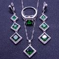 Emerlad Verde encanto Blanco Creado Topaz 925 Plata de La Joyería Para Las Mujeres Pendientes/Colgantes/Collar/Anillos Caja libre