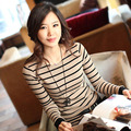 Blusa Listrada Mujeres de la Camiseta de Manga Larga Para Mujer Tops 2016 Algodón Casual Camiseta A Rayas Mujer Camisetas Haut Manche Longue Femme