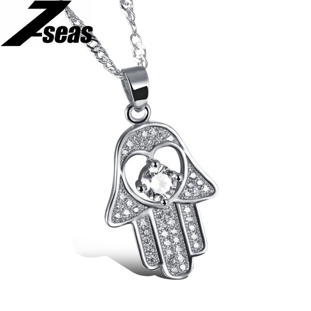 7SEAS Hot Fashion White Gold Color Crystal Hamsa Fatima Hand Necklace Lucky Women Jewelry Gift ,JM632D