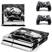 Ps4 Console Full Skin Sticker Faceplates (Motorcycle racing style Grey Skin X 1 + Controller Skin X 2)