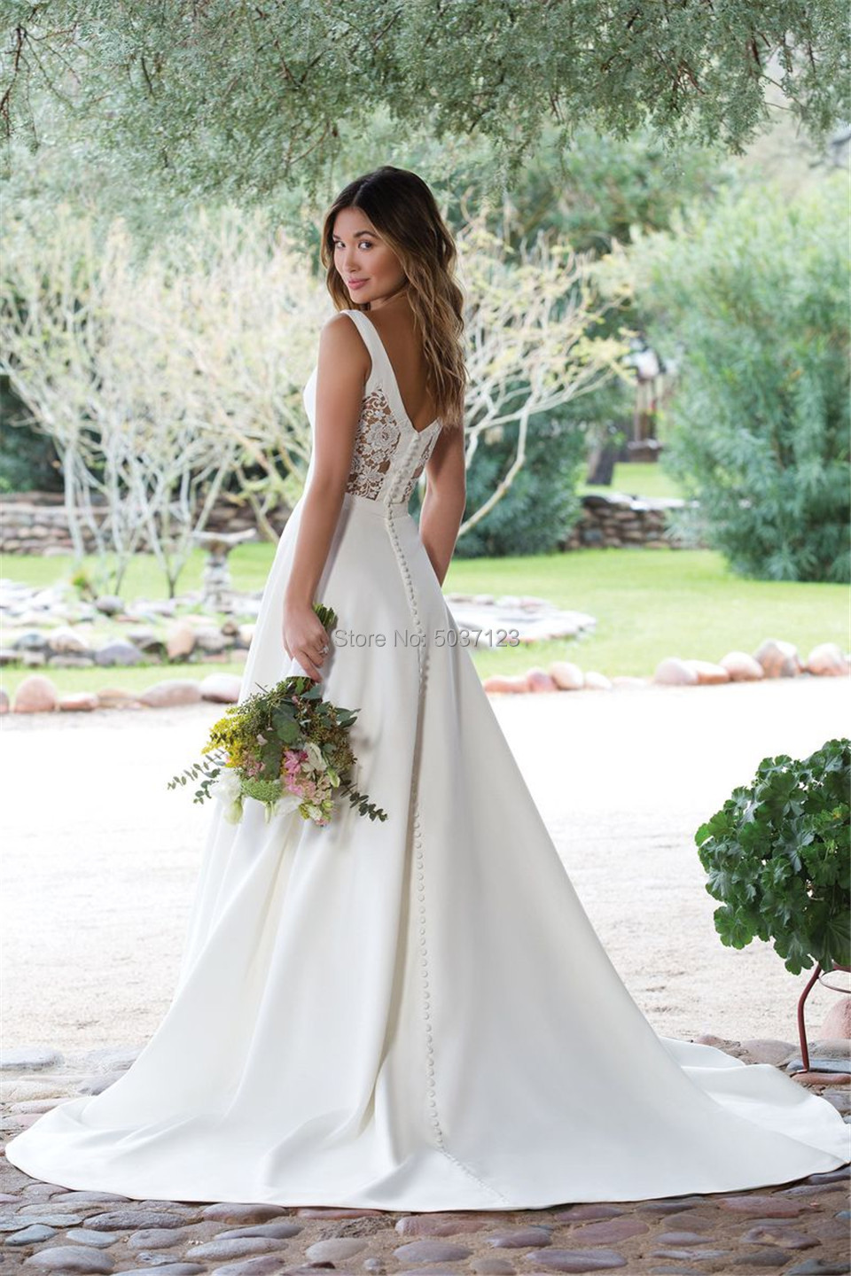 Image 3 - Satin Wedding Dresses 2019 A Line V Neck White Ivory Illusion Button Wedding Bridal Gowns Vestido De Noiva Court Train-in Wedding Dresses from Weddings & Events