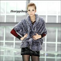 New Genuine Knit Mink Fur Shawl Poncho With Fox Trimming Real Mink Fur Jacket Fashion Women 2017 Style Mink Fur Coat