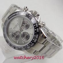 New Arrive 39mm PARNIS Grey Dial Chronograph Sapphire Glass Quartz Movement men's Watch все цены
