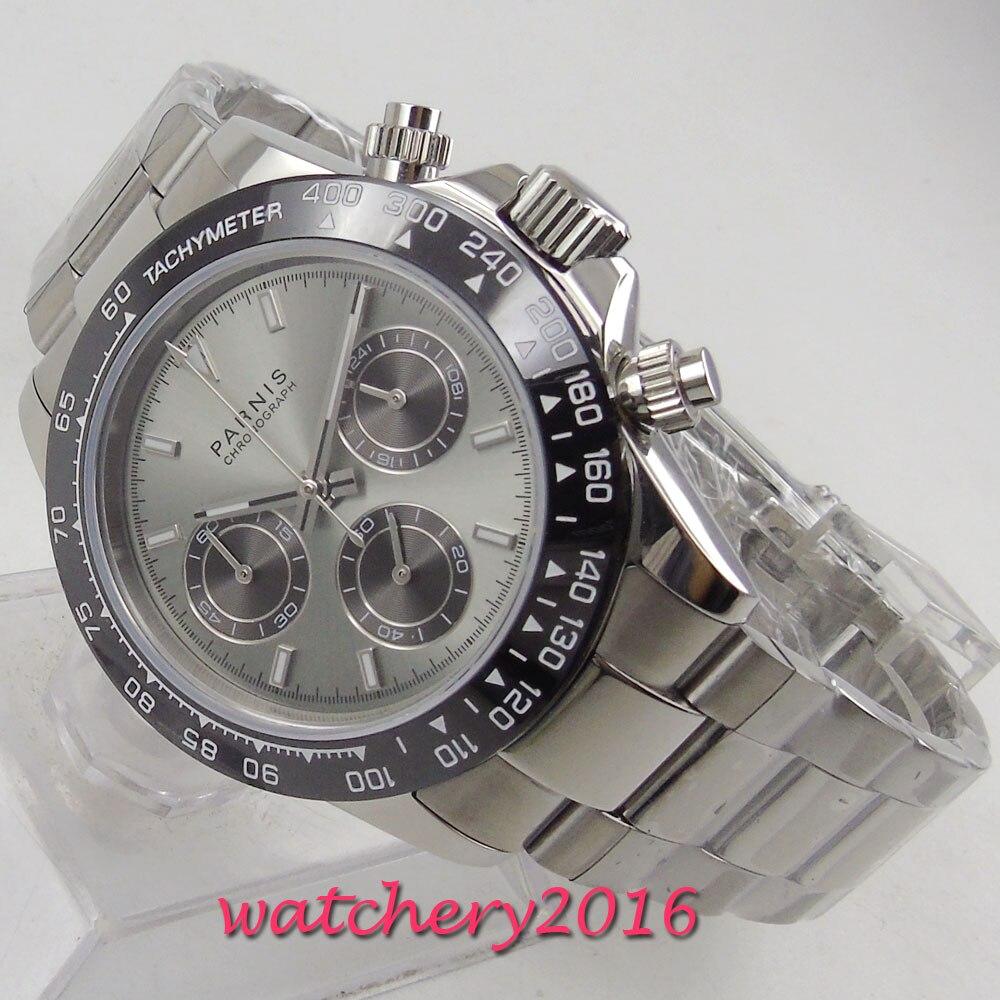 Nouvelle arrivée 39mm PARNIS cadran gris chronographe saphir verre Quartz mouvement montre pour hommes