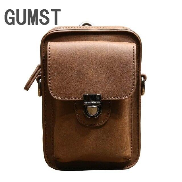 6228bc674ee Vintage Crazy Horse PU Leather Mens Waist Bag Travel Fanny Pack Belt Loops  Hip Bum Bag
