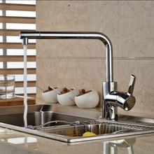 Chrome Finished Swivel Spout Long Neck Kitchen Sink Faucet Single Handle Brass Mixer Taps with Hot