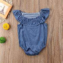 Toddler Infant Baby Girls Ruffle Denim Bodysuit Summer Bodysuit Jumpsuit Outfits Sunsuit Bodysuit yu(China)