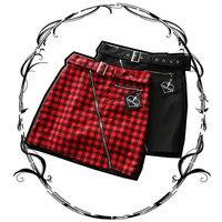 Women Skirt Red Black Check Grid Lattice Zipper Punk Gothic Dark Lolita Rock Campus Style England