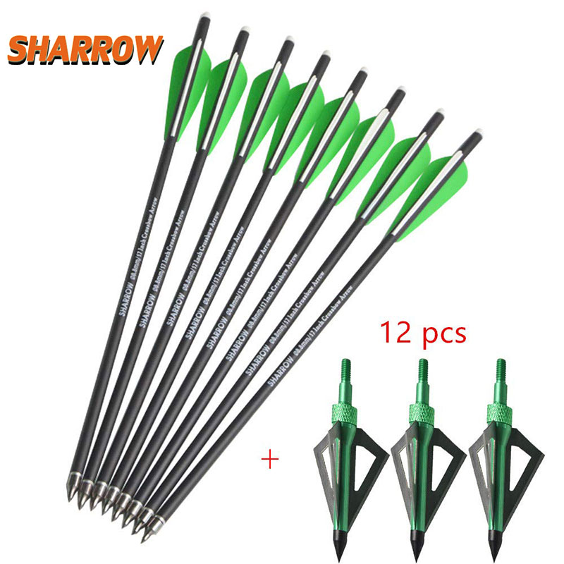 12pcs 16 17 Archery Crossbow Arrows Mix Carbon Bladeheads Steel fixed Arrows Outdoor Traditional Bow Sports