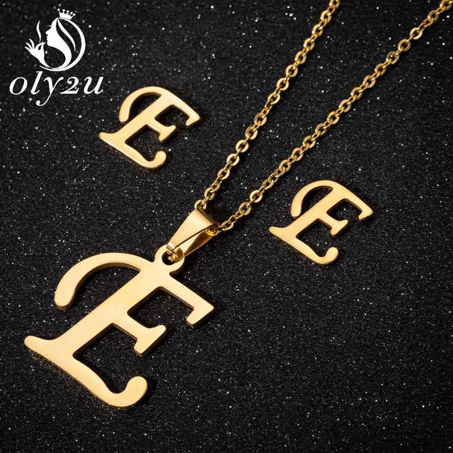 Oly2u ゴールド女性のための手紙の宝石セットステンレス鋼のネックレスチョーカースタッドピアス除草ジュエリーセットコリアーファム 2019