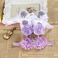 Крещение крещение девушка новорожденный обувь повязка на голову комплект, Малыша детская обувь известных впервые уокер, Пинетки обувь для девочек