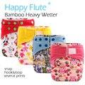 Счастливый Флейта OS Бамбук AIO/Heavy Wetter Крюк и Петля Ткань Пеленки, бамбука хлопок внутренний с двумя бамбуковые вставки, S M L регулируемый