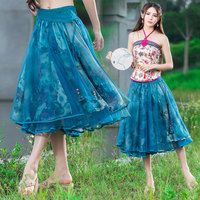 2017 Summer Folk Style Lace Print Patchwork Fashion Casual Big Swing Women Skirt Pleated Casual Print A-line Skirts Womens