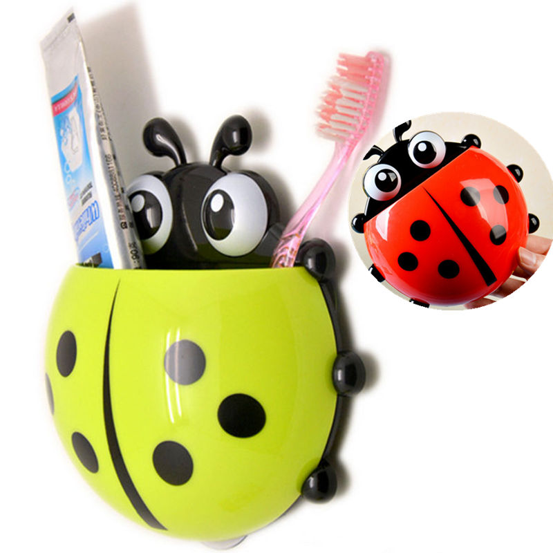 1x cute ladybug toothbrush holder toiletries toothpaste for Cute bath accessories