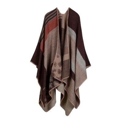 Новинка, модные зимние теплые клетчатые пончо и накидки для женщин, Большие шали и накидки, кашемировые пашмины женские накидки - Цвет: 11