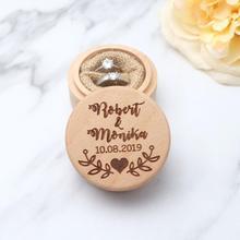 Заказная коробка для колец, персонализированная Свадьба/на День Валентина, обручальное деревянное кольцо, деревенская Свадебная коробка для колец