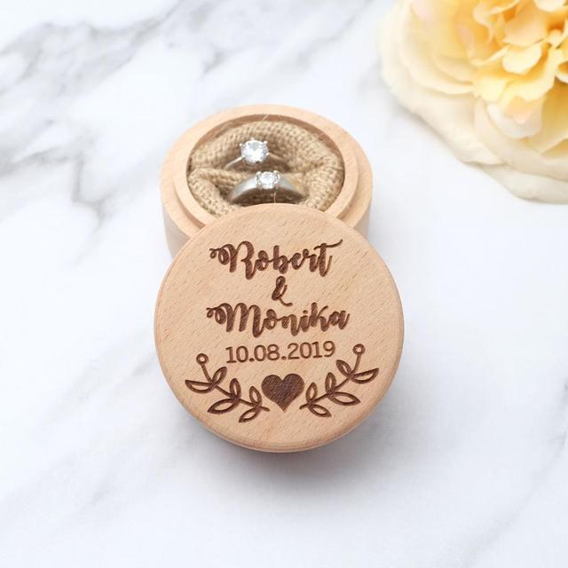Custom Ring Box, Personalized Wedding / Valentines Engagement Wooden Ring Bearer Box, Rustic Wedding Ring Box Holder