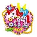 Los niños lindos de la historieta bolsos hechos a mano diy de diamantes cosidos a mano juegos educativos juguetes