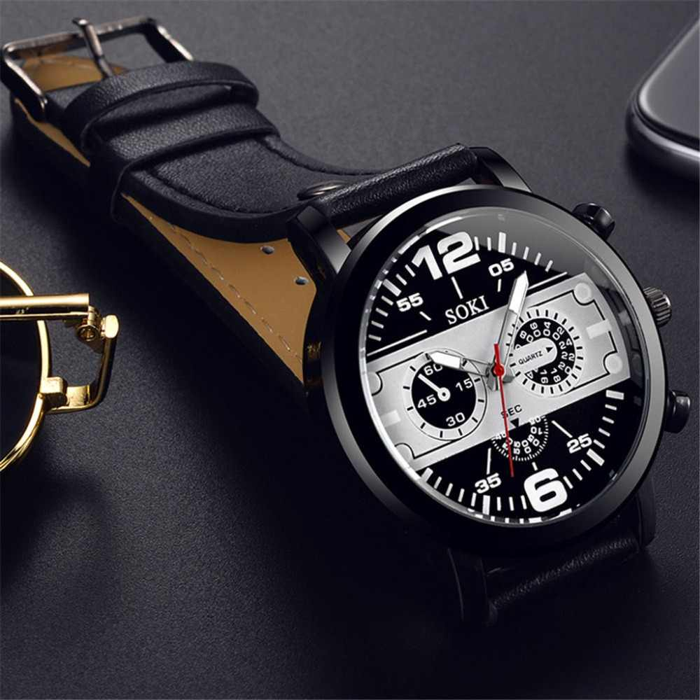 Erkek kol saati Fashion Men's Watch Three Eyes Sport Business Watch Steel Case Leather Band Quartz Wristwatch relogio femininoF4