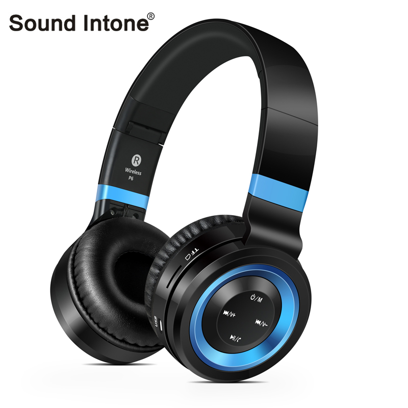 Sound Intone Bluetooth Headphones with Microphone Wireless Headphones Support TF Card Bass Handsfree Headset for Sony for PC MP3 ks 509 mp3 player stereo headset headphones w tf card slot fm black