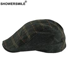 SHOWERSMILE boina de lana de los hombres de pico de pato sombrero de Tweed  Vintage de lana a cuadros Patchwork vendedor de estil. ca94310d52f