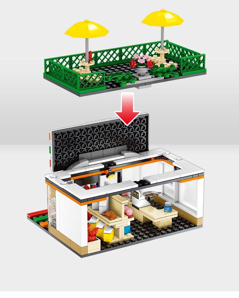 Street Hamburger Cafe Retail Convenience Store Architecture Building Blocks Compatible Legoed Technic City Street View Brick Toy 31