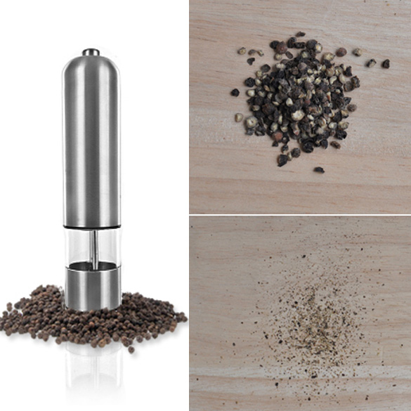 1 Pcs <font><b>Pepper</b></font> Grinder <font><b>Mills</b></font> Stainless Steel Automatic <font><b>Battery</b></font> Operated Salt and <font><b>Pepper</b></font> <font><b>Mill</b></font> Grinder Seasoning Kitchen Tools