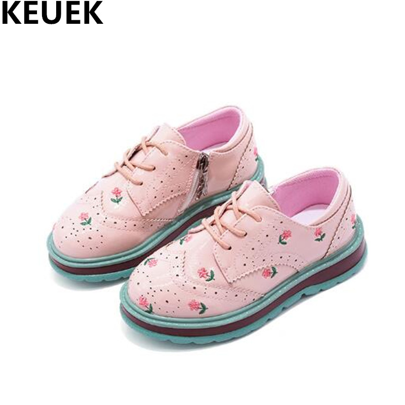 NEW Spring Girls Leather Shoes Princess Baby Lace-Up Sport Flats Child Toddler Casual Kids Single Shoes Pink Sneakers 019 babaya new children sport shoes casual pu leather white running shoes for 4 12 years old boys and girls kids sneakers size 26 37