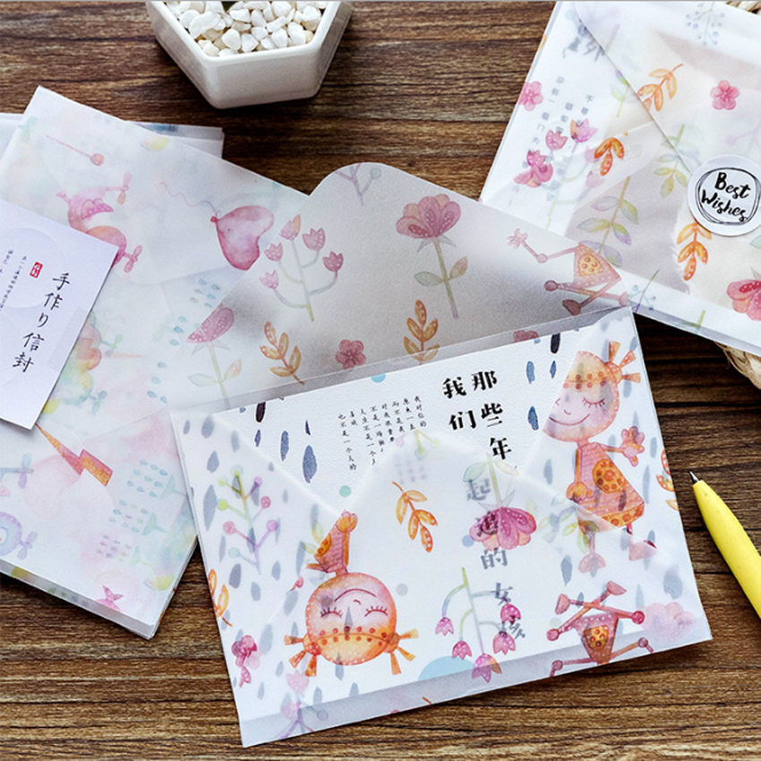 3pcs lot New Prime Years Jinshi Series Sulfuric Acid Paper Envelope For Kids Postcard Festival Card Gift School Supplies in Paper Envelopes from Office School Supplies
