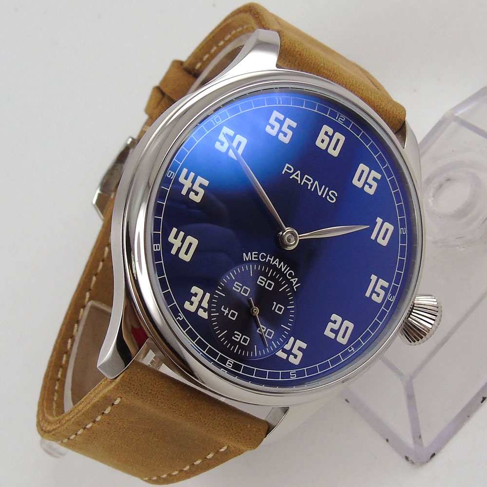 New 44mm parnis Blue Dial Stainless steel Case 2018 Romantic Valentines gifts Leather strap 6498 Hands Wind Movement men's Watch