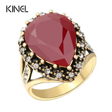 Vintage Jewelry Wholesale Crystal Ring Fashion Gold Color Rhinestone Engagement Rings For Women(China)