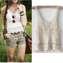 Nice Pop Women Sexy Sheer Embroidery Floral Lace Crochet Vest Tank Pops Tee Shirt Blouse Plus Size Lace Blouse