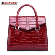 Vintage Women's Handbag Patent Leather Crocodile Pattern Female Tote Famous Fashion Brand