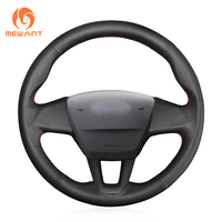 MEWANT Black Genuine Leather Hand Sew Wrap Steering Wheel Cover for Ford Focus 3 2015 2018 without multi function button