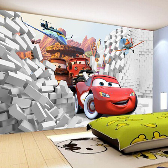 Buy 2016 custom 3d cars wall mural for Car wallpaper mural