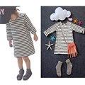 Bobo Estilo 2017 Nova Garota Da Marca Bebê Menino camisa Listrada T striped dress crianças outono manga comprida de algodão top moda e dress