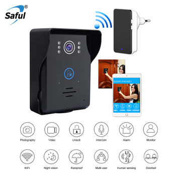 Saful Wifi IP Video Door Phone Intercom System Supporting Android & ios APP with Indoor doorbell Free shipping door wireless with monitor