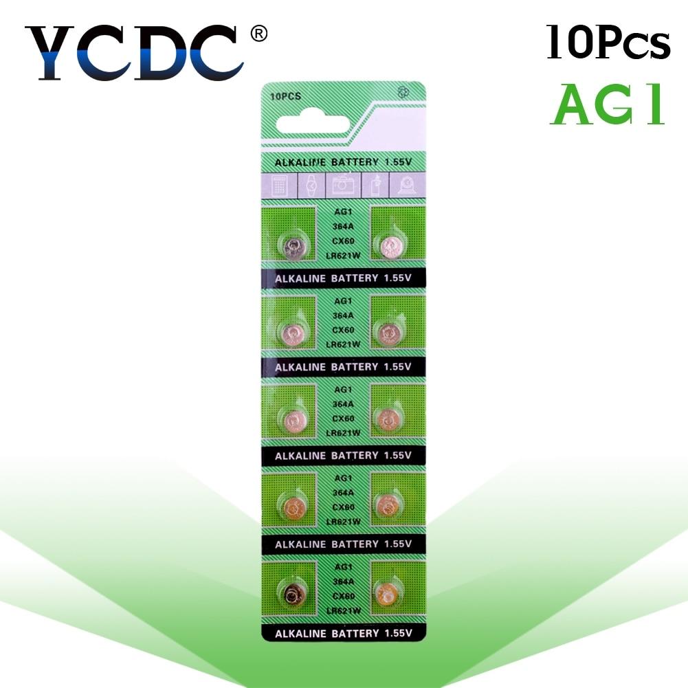 YCDC Sale 10Pcs/Lot RETAIL LONG LASTING AG1 364 LR621 164 531 SR60 SR621SW 1.55V Watch Battery Button Coin Cell 100% Original